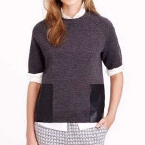 J CREW Boxy Wool Sweater Tee Leather Pockets 1